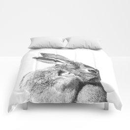Black and white rabbit Comforters