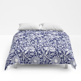 """William Morris Floral Pattern   """"Pink and Rose"""" in Navy Blue and White Comforters"""