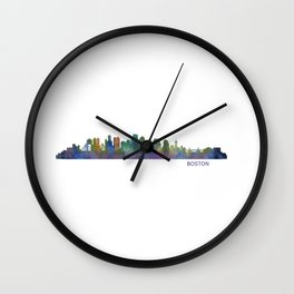 Boston Massachusetts City Skyline Hq V1 Wall Clock