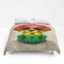 Cute Puppy Dog with flag of Ghana Comforters