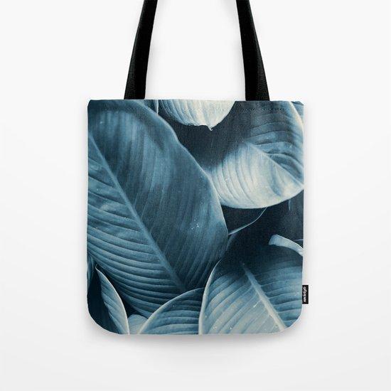 Blue Tropical Leaves Tote Bag