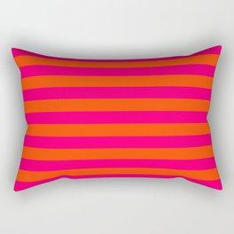 Super Bright Neon Pink and Orange Horizontal Beach Hut Stripes Rectangular Pillow