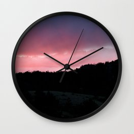 Purple Sunset Wall Clock