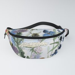 Wildflower in Garden Watercolor Flower Illustration Painting Fanny Pack