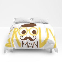 Typography Print Life is Groovy Man Hipster Eyeglasses Mustache Comforters