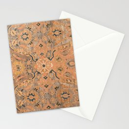 Persian Motif IV // 17th Century Ornate Rose Gold Silver Royal Blue Yellow Flowery Accent Rug Patter Stationery Cards