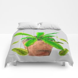 Tropical pitcher plant watercolor Comforters