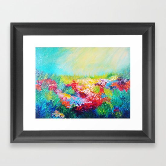 ETHERIAL DAYS - Stunning Floral Landscape Nature Wildflower Field Colorful Bright Floral Painting Framed Art Print