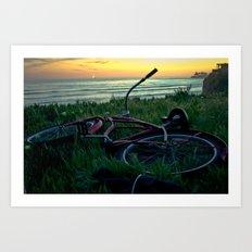 turned over bike Art Print
