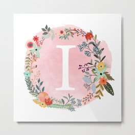 Flower Wreath with Personalized Monogram Initial Letter I on Pink Watercolor Paper Texture Artwork Metal Print