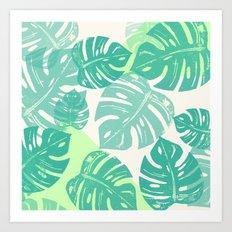 Linocut Monstera Green Art Print
