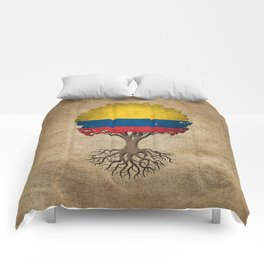 Vintage Tree of Life with Flag of Colombia Comforters
