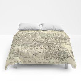 Vintage Map of Edinburgh Scotland (1844) Comforters