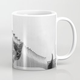 You Did Not See That! - Kittens knocking over Glass Bottles of Milk black and white photograph / photography Coffee Mug