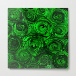 Apple Green and Onyx Glass Swirl Abstract Metal Print