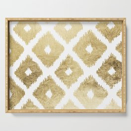 Modern chic faux gold leaf ikat pattern Serving Tray