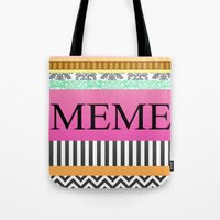 meme Tote Bags featuring Meme by Be Raza