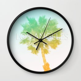 Retro Vintage Ombre Los Angeles, Southern California Palm Tree Colored Print Wall Clock