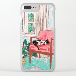 Little Naps - Tuxedo Cat Napping in a Pink Mid-Century Chair by the Window Clear iPhone Case