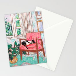 Little Naps - Tuxedo Cat Napping in a Pink Mid-Century Chair by the Window Stationery Cards