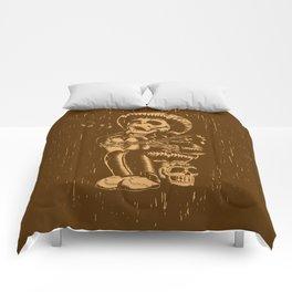 Dia De Los Muertos woodcut Comforters