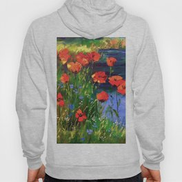 Poppies at the pond Hoody