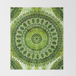 Vintage Lime Mandala Throw Blanket