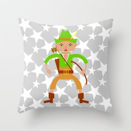 Forest hunter with bow and arrow Throw Pillow