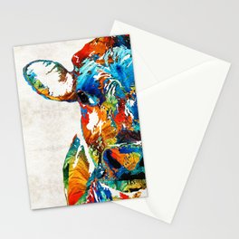 Colorful Cow Art - Mootown - By Sharon Cummings Stationery Cards