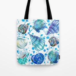 Seamless watercolor marine pattern. Endless texture. Hand draw. Collection of shells on white backgr Tote Bag