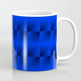 A vertical ribbon of raised squares with intersecting blue rectangular triangles and highlights. Coffee Mug