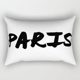 'Paris' Hand Letter Type Word Black & White Rectangular Pillow