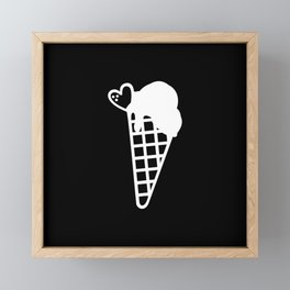Simple Black and White Snow Cone Icecream Framed Mini Art Print