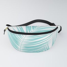 Soft Turquoise Palm Leaves Dream - Cali Summer Vibes #1 #tropical #decor #art #society6 Fanny Pack