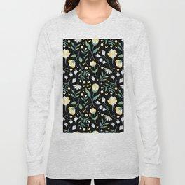 Colourscape Summer Floral Pattern Black Long Sleeve T-shirt