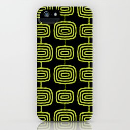 Mid Century Modern Atomic Rings Pattern Black and Chartreuse iPhone Case