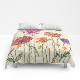 Watercolor Poppy Painting,Poppy Batik, Watercolor Batik,Poppy Watercolor, Wall Art, Floral Art, Comforters
