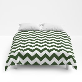 Large Dark Forest Green and White Chevron Stripe Pattern Comforters