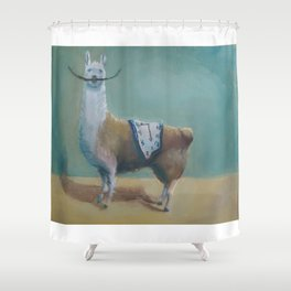 Dali Llama Funny Mustache Melted Clock Salvador Dadaism Shower Curtain