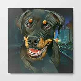 Rottweiler Pup - Waiting for the Train Metal Print