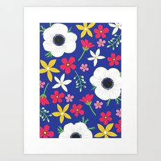 Betty Blue Floral Art Print