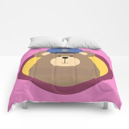 Police Officer Brown Bear in cirlce Comforters