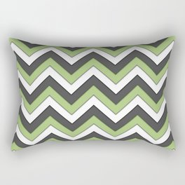Green Charcoal and White Chevrons Rectangular Pillow