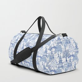 Pagoda Forest Blue and White Duffle Bag