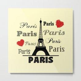 Paris text design illustration 2 Metal Print