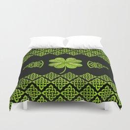 Irish Shamrock Four-leaf clover with celtic decor Duvet Cover