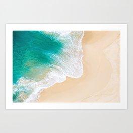 Sand Beach - Waves - Drone View Photography Art Print