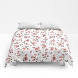 Folk floral pattern. Pink Flowers. Comforters
