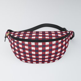 Gingham Red Black and White Pattern Fanny Pack