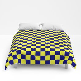 Electric Yellow and Navy Blue Checkerboard Comforters